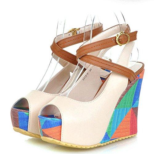 COOLCEPT Mujer Peep Toe Tacon de Cuna Sandalias Plataforma Slingback Zapatos Beige
