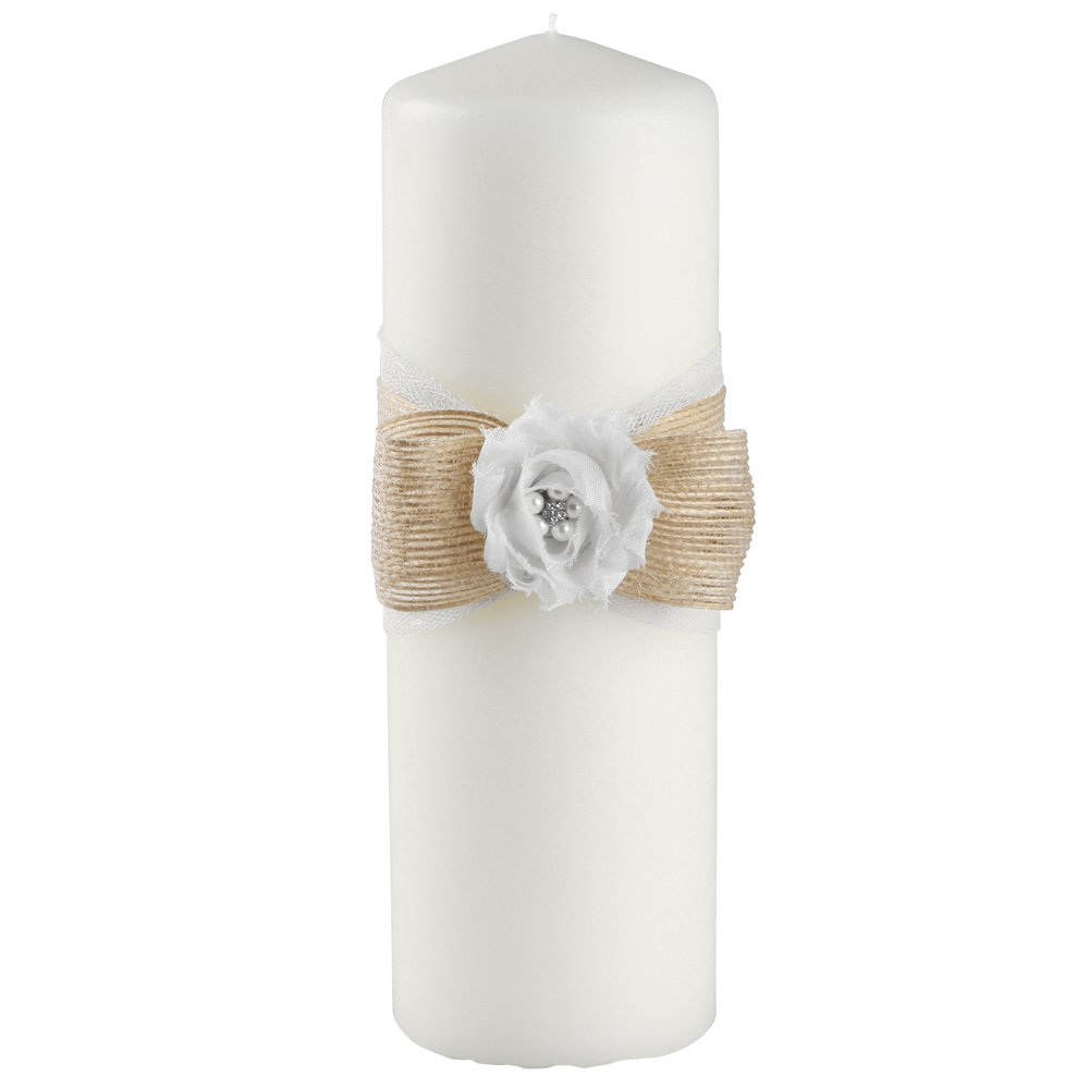 Ivy Lane Design Miranda Collection Unity Candle, 3-Inch by 9-Inch, White