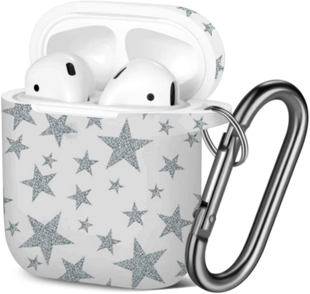[ Compatible with AirPods 2 and 1 ] Shockproof Soft TPU Gel Case Cover with Keychain Carabiner for Apple AirPods (Silver Stars On)