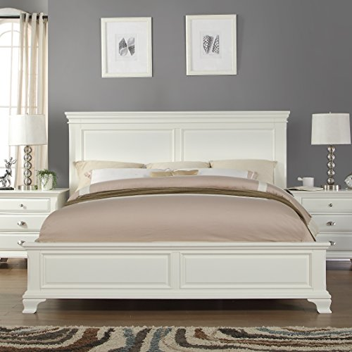 Roundhill Furniture Laveno 012 White Wood Bed, King
