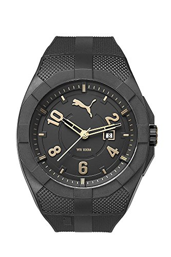Puma Iconic Men's Water Resistant Watch - Black/Gold / One Size Fits All