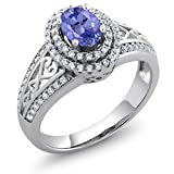 1.31 Ct Oval Blue Tanzanite Gemstone Birthstone 925 Sterling Silver Women's Ring (Available in size 5, 6, 7, 8, 9)