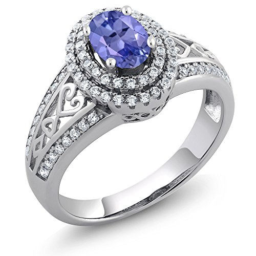 1.31 Ct Oval Blue Tanzanite Gemstone Birthstone 925 Sterling Silver Women's Ring (Size - Rings Tanzanite Silver