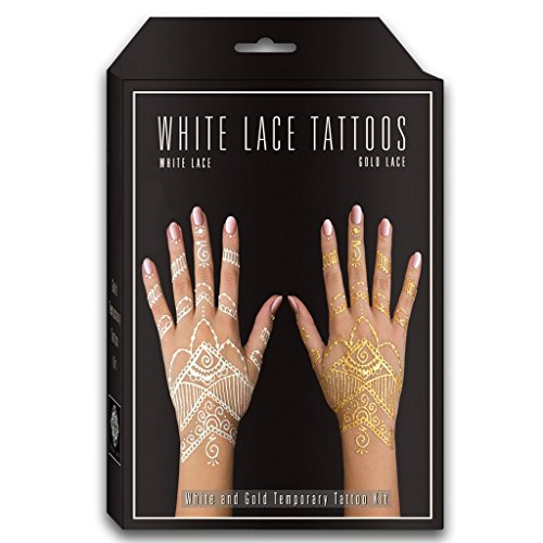 Earth Henna - Temporary Tattoo and Body Painting Kit - White and Silver  (Tattoo Earth Henna)