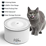 Flightbird Smart Cat Water Fountain, 3 Modes 5-Stage Purification Filter,IPX6 Waterproof Water Shortage Alert,Super Quiet Water Purifier,Pet Water Dispenser Feeder Bowl for Cat,Small Dog,Bird (2L)