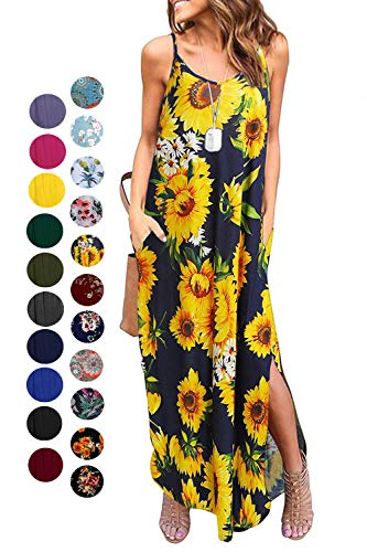 Kyerivs Women's Summer Dress Casual Loose Beach Cover Up Long Plain Print Cami Maxi Dresses with Pocket Daisy S (6-8)