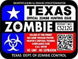 "ProSticker 1295 (TWO pack) 3""x 4"" Zombie Series Texas Flag Hunting License Permit Decal Sticker"