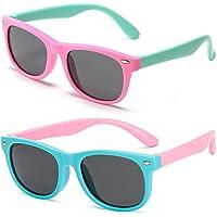 FANDE Kids Gafas de Sol, 2 Piezas Gafas Niño Sol, Kids Sunglasses Polarizadas Flexibles de Goma, Toddler Gafas de Sol de…