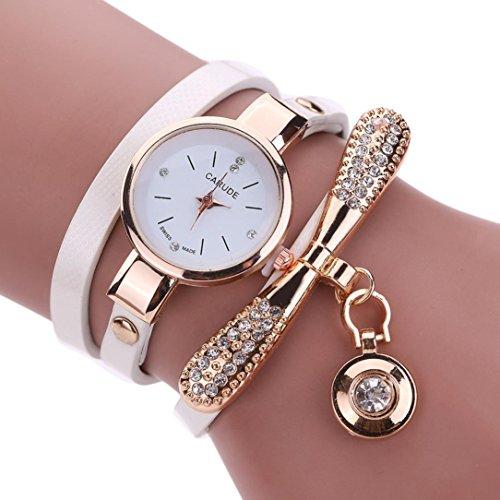 White Metallic Rhinestone Buckle (BEUU Hot Sale With Diamond Pendant Female Models Winding Watch Women Leather Rhinestone Analog Quartz Wrist Watches (White))