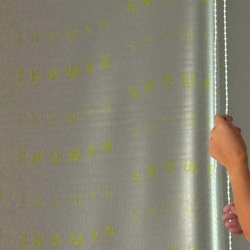 ECO-DuR 4024879003074 dise/ño con Texto Shower Cortina de Ducha Enrollable Color Blanco 134 cm
