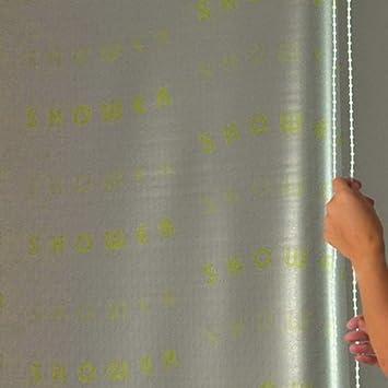 134 cm dise/ño con Texto Shower Cortina de Ducha Enrollable Color Blanco ECO-DuR 4024879003074