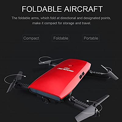 GoolRC T47 FPV Drone Foldable with Wifi Camera Live Video 2.4G 4 Channel 6 Axis Gravity Sensor Mode Altitude Hold RC Foldable Selfie Pocket Drone APP Control RTF: Toys & Games