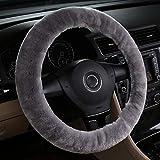 MLOVESIE Universal Genuine Wool Sheepskin Univeral Car Vehicle Steering Wheel Cover Car Wheel Cushion Protector Available for 35cm-45cm Steering Wheel in Diameter