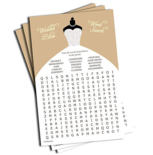 Wedding Word Find/Search Game - Bridal Shower - Champagne Silver Wedding Dress (50-sheets)