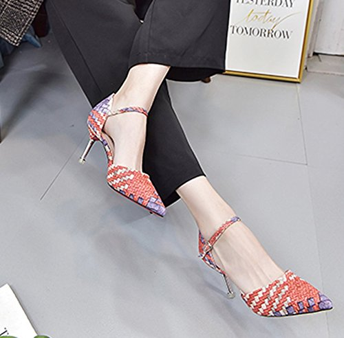 Shoes Shoes Shoes MDRW Rattan Work Working Olici Fine Followed Career Leisure Lady Series Color Heeled Spring Single Shoes High Tip Paste 7Cm Elegant Women Orange 4wwnpUBg
