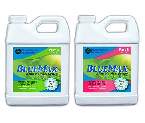 (Blue Planet Nutrients BlueMax 2-Part Base Nutrients Quart (32 oz bottles) For All Varieties of Plants!)