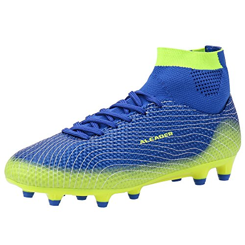 ALEADER Boys/Youth Athletic Cleats Soccer Shoes Football Boots for Outdoor Field Training Navy 3.5 M US Big Kid