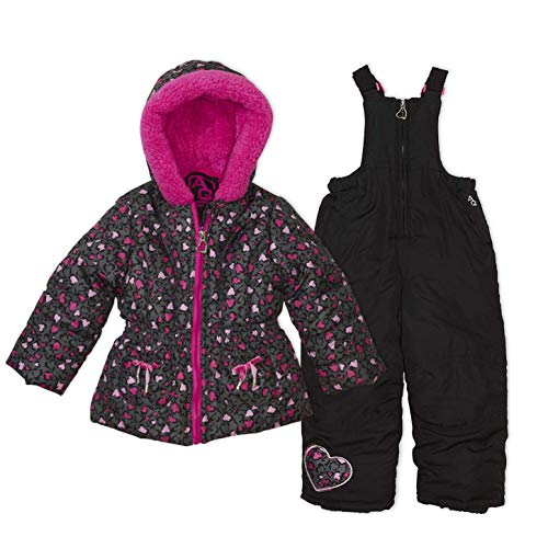 Arctic Quest Infant Girls Leopard Print Puffer Jacket with Fleece Lined Hood and Snow Bib Pants Set, Hot Pink & Grey, 18M - Leopard Baby Bunting