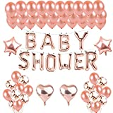 Toupons Rose Gold Baby Shower Party Decorations Balloons - Baby Shower Letter Balloon Banner & 40pcs Latex Balloons & 10pcs Confetti Balloons & 4pcs Star Heart Foil Balloon