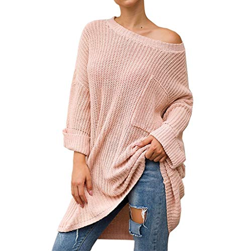 Dainzuy Women's Sweater Long Sleeve Loose Baggy Oversized Pullover Knit Jumper Tunics Top Outwear Coats with Pocket Pink