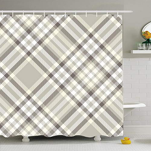 Love Chinese Checkers - Ahawoso Shower Curtain 66x72 Inches Gray Tan Border Plaid Check Pattern Taupe Grey Brown Beige Checker Diagonal Faded Color Flannel Waterproof Polyester Fabric Set with Hooks