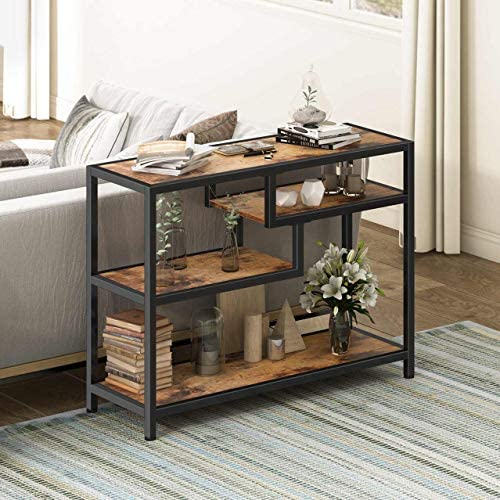 HOMOOI Console Table for Living Room, 4-Tier Hallway Entryway Table, Small Sofa Table with Shelves, Industrial Brown