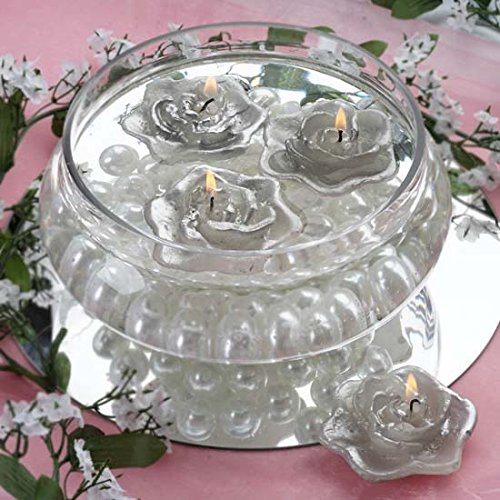(Efavormart Set of 20 Silver Unscented Floating Rose Candle for Wedding Party Birthday Centerpieces Home Decorations Supplies)