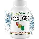 Alpha GPC Choline 100% ORGANIC | Made in USA |300mg 60 Vegan Capsules | Cognitive Enhancer Nootropic | Boosts Focus Clarity & Improves Concentration |+ 4 Develop Brain-Power E-Books + We PLANT 1 TREE