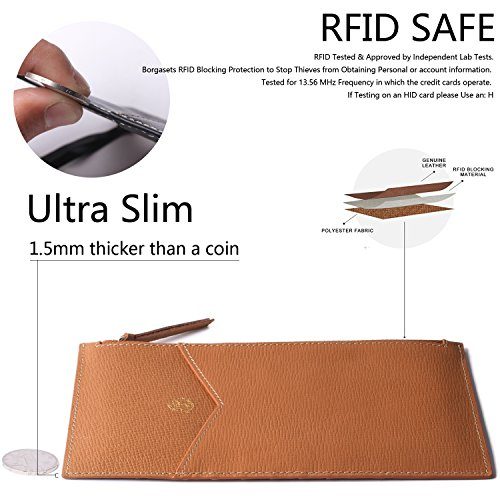 Borgasets Ultra-Thin Women's Wallet RFID Blocking Leather Credit Card Holder Zipper Purse for Phone Brown by Borgasets (Image #3)