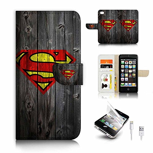 ( For iPhone 5 5S / iPhone SE ) Flip Wallet Case Cover & Screen Protector & Charging Cable Bundle! A6318 Superman Superhero