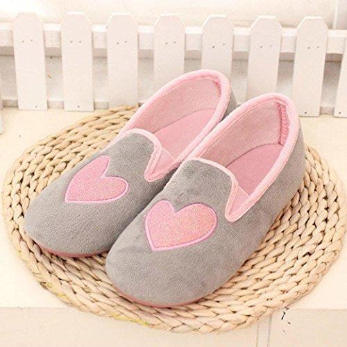 Elevin (tm) Donne Incinte Pantofole A Casa A Forma Di Cuore Caldo Inverno Scarpe Calde Scarpe Yoga Grigio