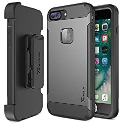Iphone 7 Plus Case, Trianium [Duranium Series] Heavy Duty Protective Cases Shock Absorption Hard Covers W Built-in Screen Protector+ Holster Belt Clip Kickstand For Apple Iphone 7 Plus 2016-gunmetal