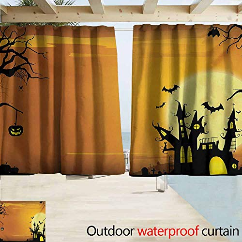 Zmacdk Halloween Doorway Curtain Gothic Haunted House Bats Western Spooky Night Scene with Pumpkin Drawing Art for Patio/Front Porch W63 xL72 Orange -