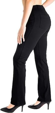 Amazon Com Yogipace Pantalones De Vestir Con Trabillas Para Cinturon Pantalones De Yoga De Pierna Recta Para Mujer Pequena Regular Alta Clothing