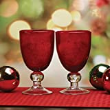Circleware 76956 Cambria Red Wine Glasses Goblets, Set of 2, Home Holiday Entertainment Dinnerware Drinking Glassware for Water, Beer and Bar Liquor Dining Decor Beverage Gifts, 11.5 oz