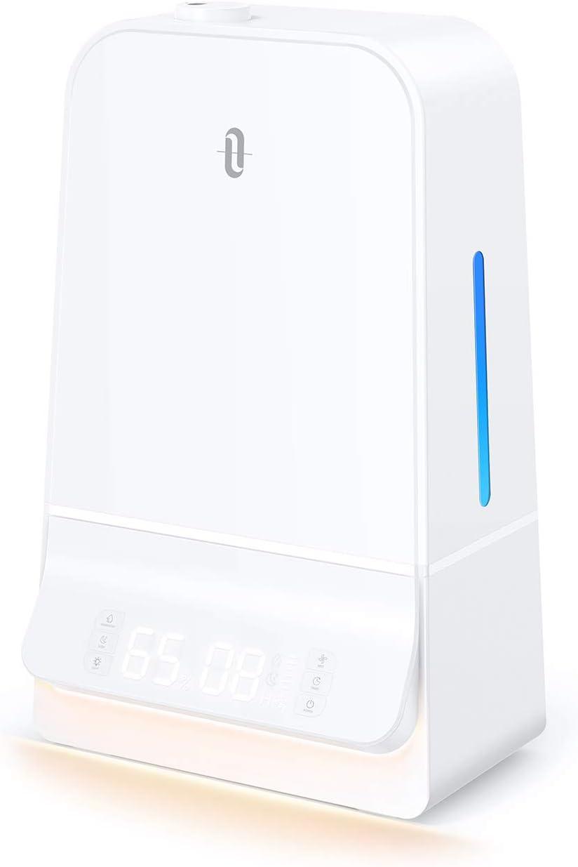 加湿器 TaoTronics 超音波式 6.0L 大容量 2020年最新版 湿度設定可能 26dB超静音 LED液晶ディスプレイ 最大60時間連続加湿 14.5-24畳対応 タイマー機能搭載 スーリプモード オーフェス 寝室 家庭用 テレワーク TT-AH044