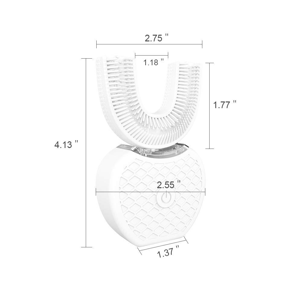 360 Grados Sonic Inteligente Automática Cepillo De Dientes Eléctrico U Tipo 4 Recargable USB De Los Modos De Carga,White: Amazon.es: Hogar
