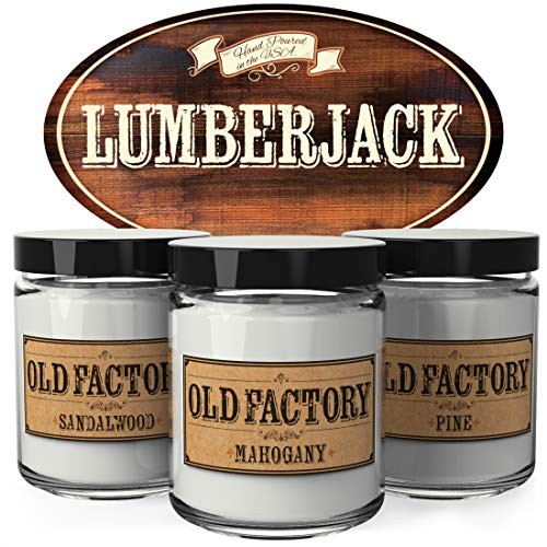 Old Factory Scented Candles for Men - Lumberjack - Decorative Aromatherapy - Handmade in The USA with Only The Best Fragrance Oils - 3 x 4-Ounce Soy Candles -