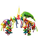MEWTOGO Bird Parrot Wooden Toys for Conures Cockatoo Cockatiels Foraging and Amazon Parrot Toys