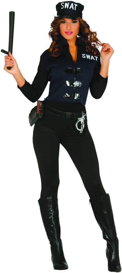 Amakando Vestimenta Agente Femenino Disfraz Sexy de SWAT Mujer ...