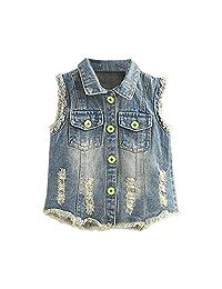 Mud Kingdom Girls' Sequin Butterfly Denim Vest Button-down