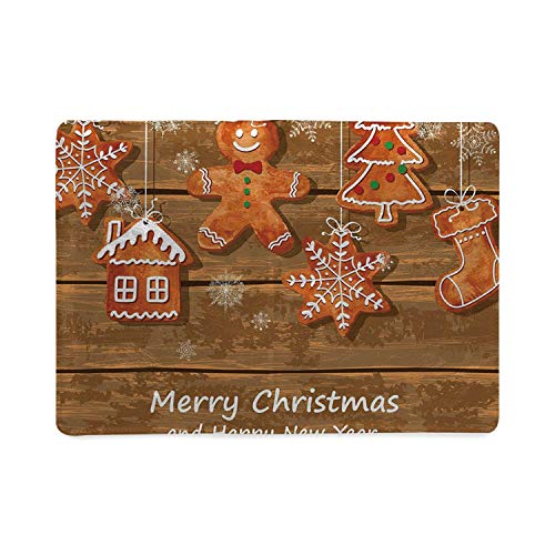 Gingerbread Man Utility Notebooks,Funny Watercolor Cookies on Wooden Boards Delicious Xmas Pastry Decorative for Work,5.82
