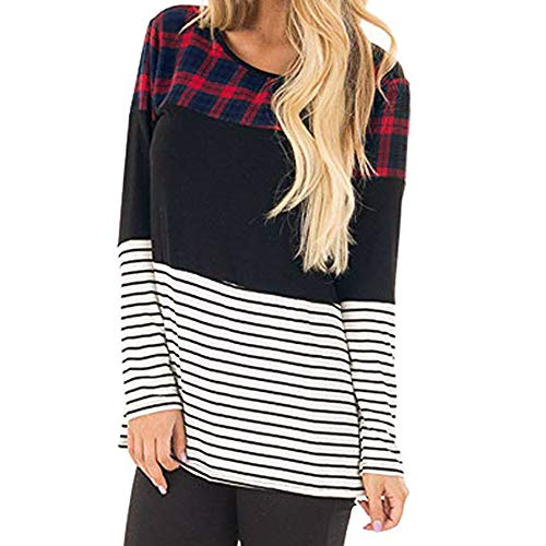 Sleeve Striped Blouse red Long Casual Plaid Shirt Zz Women Tops Govow Patchwork Autumn Tunic 8ESqnHw