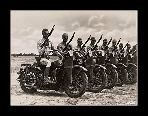 8 x 10 All Wood Framed Photo Harley-Davidson Ww2 Motorcycle Army Security by Celebrity Framed Art (Image #2)