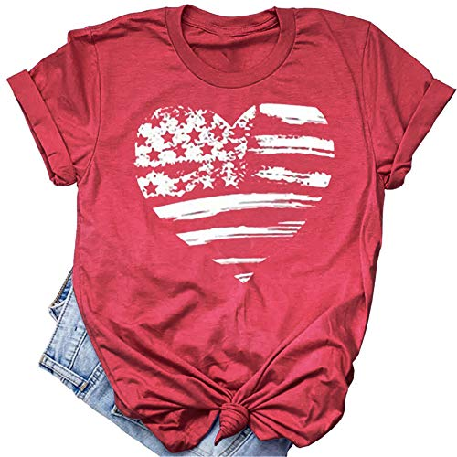Beopjesk Womens July 4th Patriotic T-Shirt American Flag Tops Independence Day Graphic Tees Red -