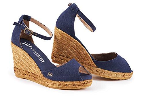 VISCATA Aiguafreda 3 Wedge, Soft Canvas, Ankle-Strap, Open Toe, Espadrilles Heel Made in Spain