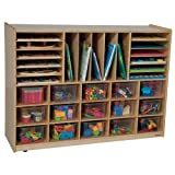 Wood Designs Kids Play Toy Book Plywood Organizer Wd14001 Multi-Storage With (15) Translucent Trays