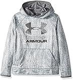 Under Armour Boys' Armour Fleece Printed Big Logo Hoodie, Overcast Gray /Graphite, Youth X-Small