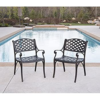 WE Furniture Cast Aluminum Patio Chairs (Set Of 2), Antique Bronze
