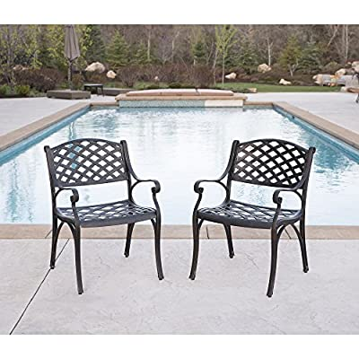 WE Furniture Cast Aluminum Patio Chairs (Set of 2), Antique Bronze - Powder-coated cast aluminum Elegant, antique bronze finish Beautiful wicker style design - patio-furniture, patio-chairs, patio - 51GhLHPj9EL. SS400  -
